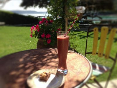 Smoothie with chia in garden