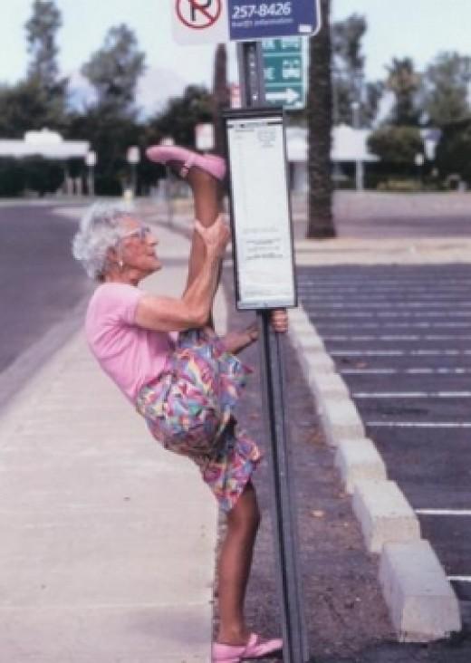 Old yogi girl